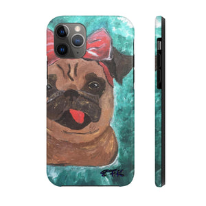 Funny Phone Case, iPhone Case, iPhone 7 Case, iPhone 8 Case, iPhone 11 of Pug with a Bow