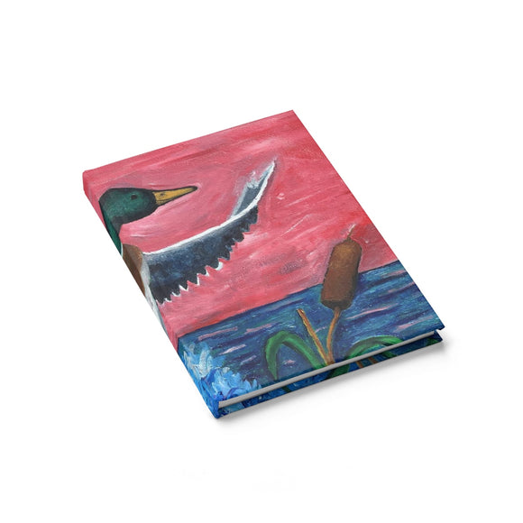 Mallard Duck Taking Flight Journal, Ruled Line Journal, Duck, Mallard, Gratitude Journal, Travel Journal