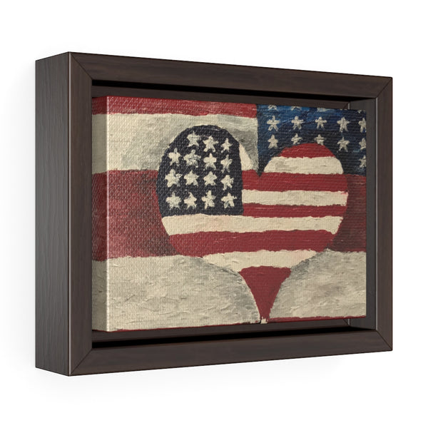 American Flag Love Horizontal Framed Premium Gallery Wrap Canvas