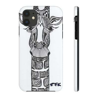 Phone Case, iPhone Case, iPhone 7 Case, iPhone 8 Case, iPhone 11 of Black and White Giraffe