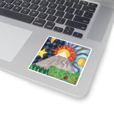 Beautiful World - Square Stickers - EF Kelly