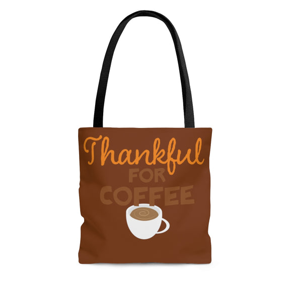 Thanksgiving Tote Bag Thankful for Coffee Funny Bag