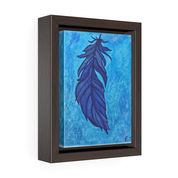 Boho Feather Vertical Framed Premium Gallery Wrap Canvas