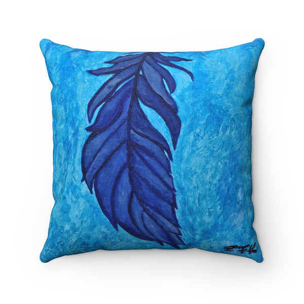 Boho Feather Faux Suede Square Pillow