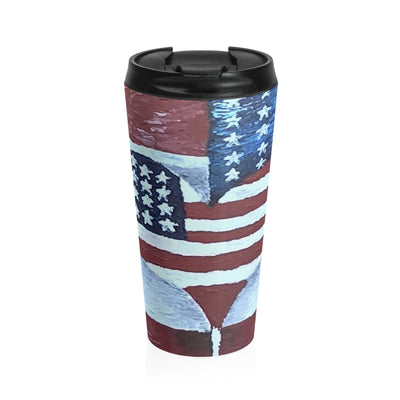 Stainless Steel Travel Mug, Coffee Mug, American Flag Love by EFK