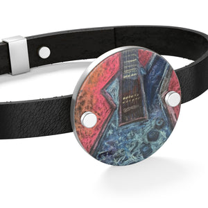 Leather Bracelet - Rock This Metallica Electric Guitar drawn by EF Kelly