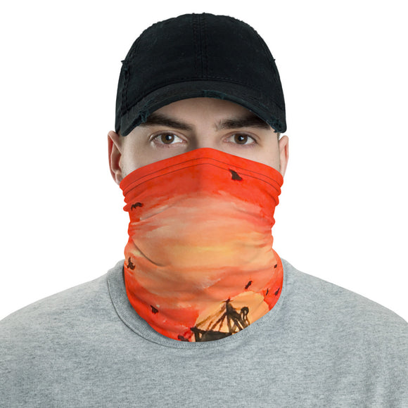 Fishing Boat at Sunset, Ocean, Face Mask, Headband, Bandana, Face Shield, Neck gaiter