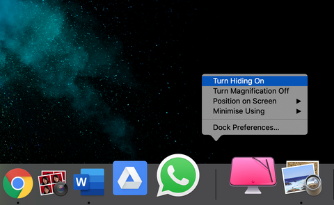 Turn On Hide Dock in Mac