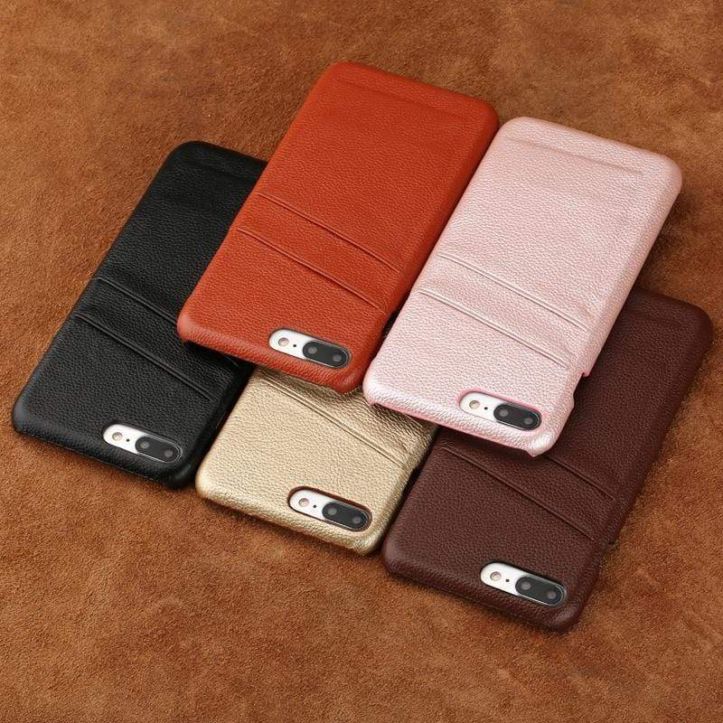 Genuine Cowhide Leather Card Slot Case For iPhone