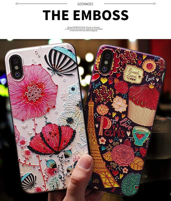 3D Emboss Cartoon Patterned Phone Case For iphone - PhonesFashions