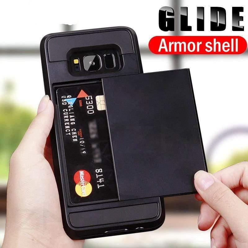 Armor Slide Card Holder Phone Case - PHONES FASHIONS