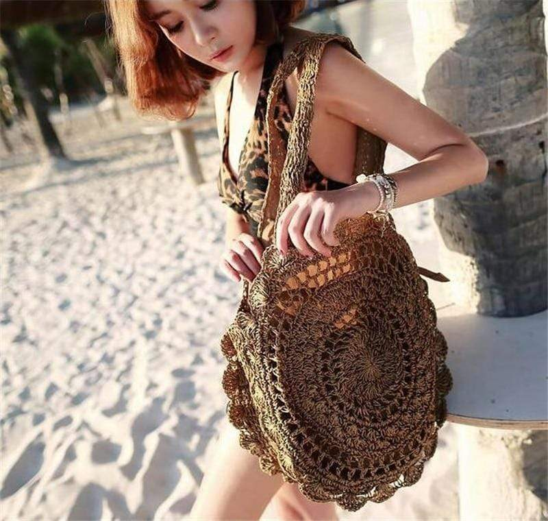 Bohemian Straw Circle Beach Handbags for Women - PhonesFashions