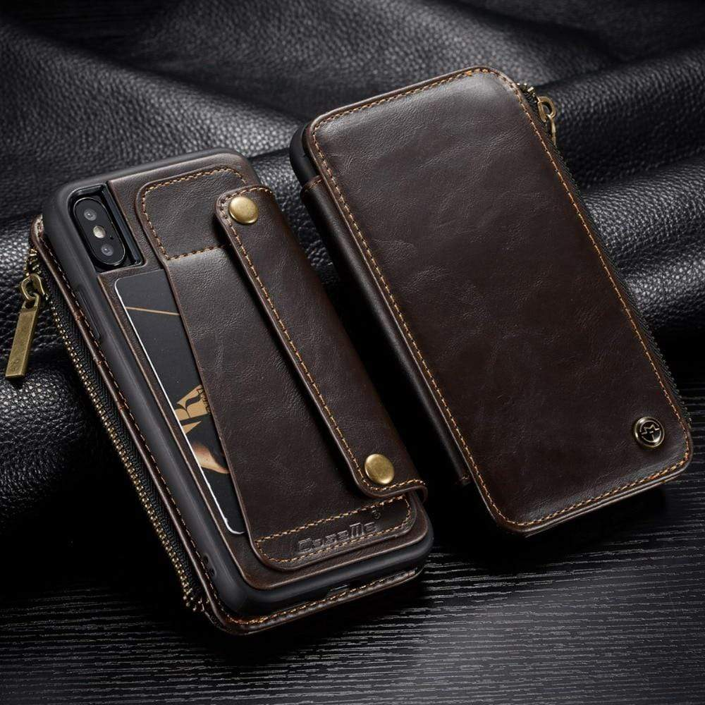 Detachable Leather wallet Case with Credit Card Slots for iPhone - PhonesFashions