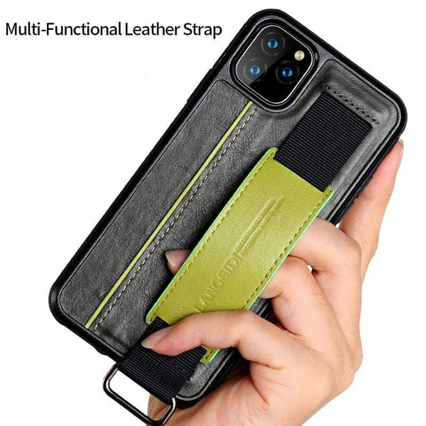 Genuine Cowhide Leather Wrist Strap Wallet case For iPhone - PhonesFashions