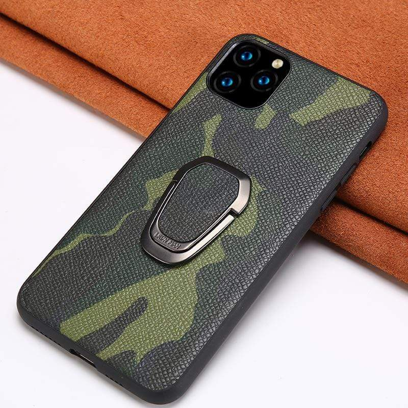 Genuine Leather Camouflage Magnetic Kickstand Case for iPhone - PhonesFashions