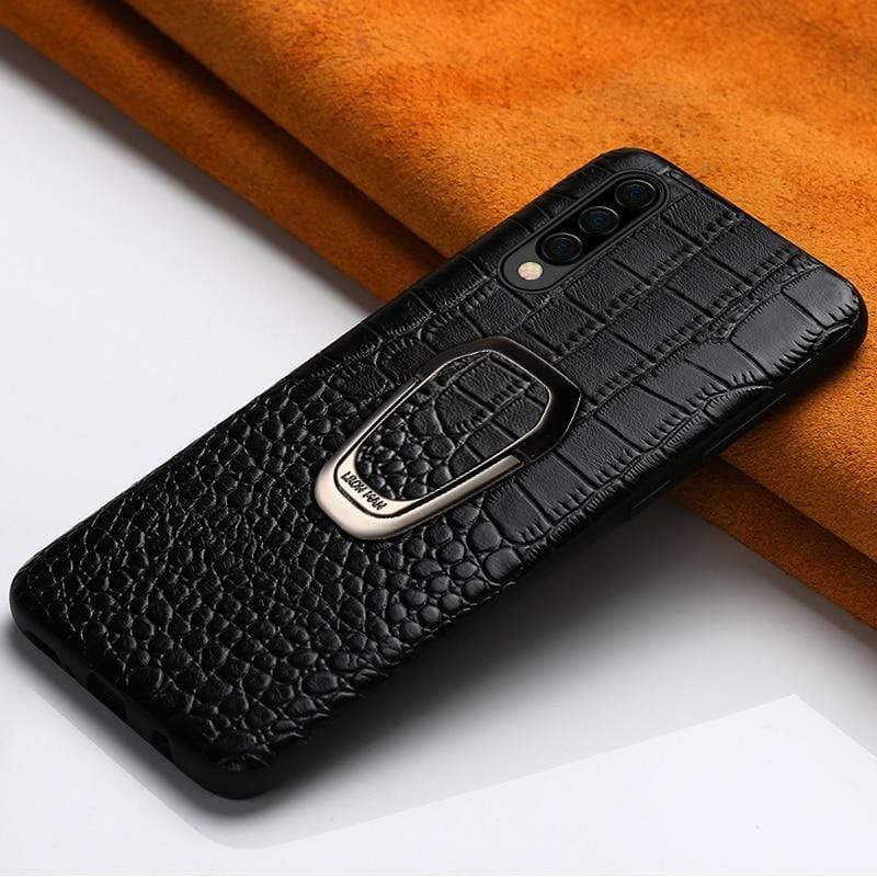 Genuine Leather Case For Samsung with  Magnetic Kickstand - PHONES FASHIONS