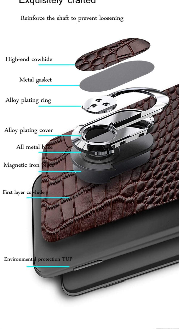 Genuine Leather Magnetic Kickstand Case for iPhone - PhonesFashions