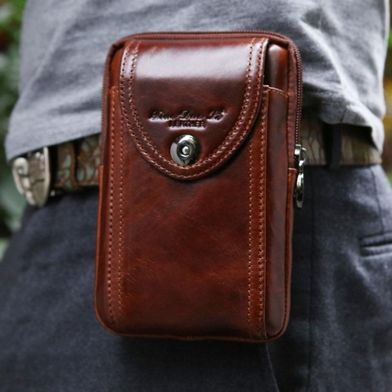 Genuine Leather Pouch Waist Bag - PHONES FASHIONS