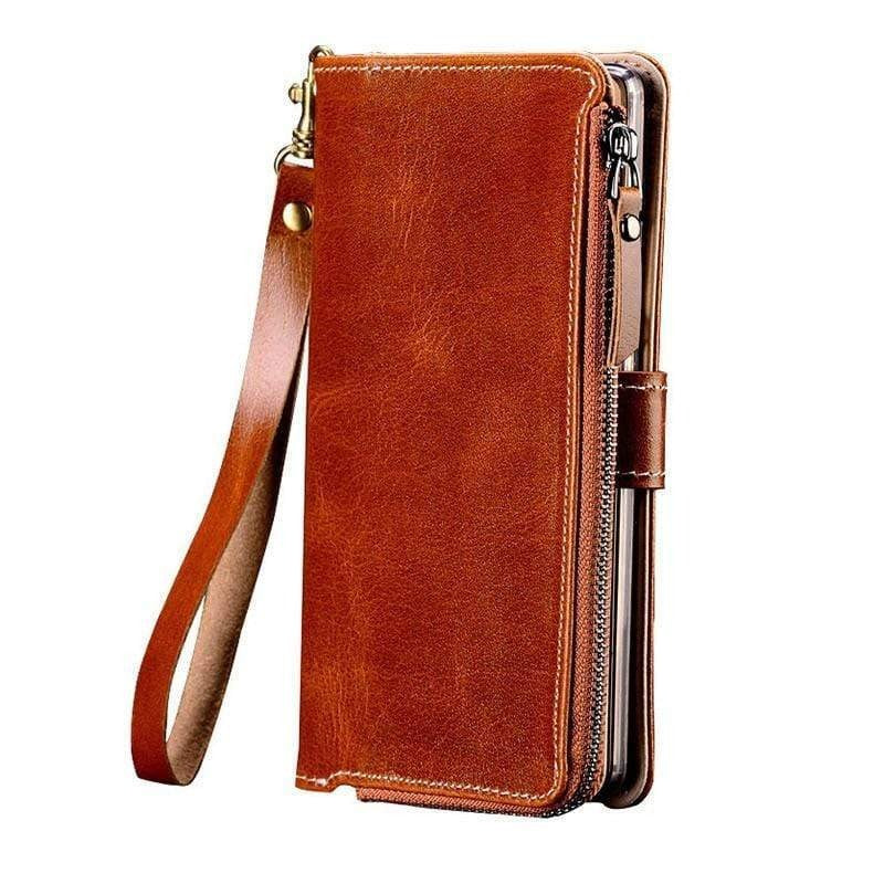 Genuine Leather Zipper Wallet Case For OnePlus