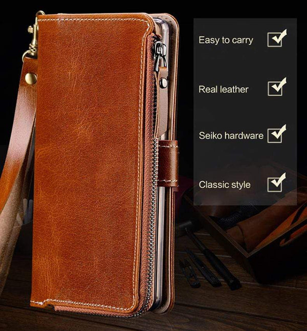 Genuine Leather Zipper Wallet Case For OnePlus - PhonesFashions