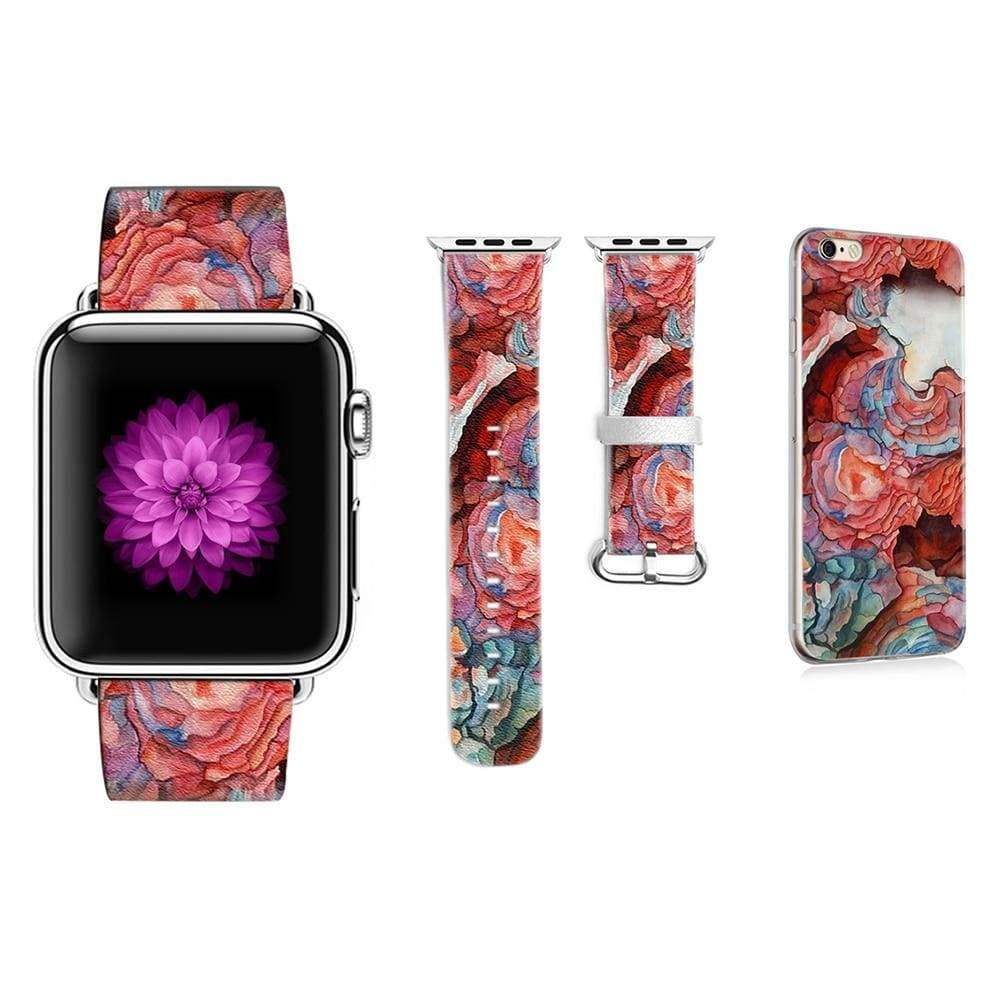 Graffiti Flower Apple Watchband + iPhone Case Set - PHONES FASHIONS