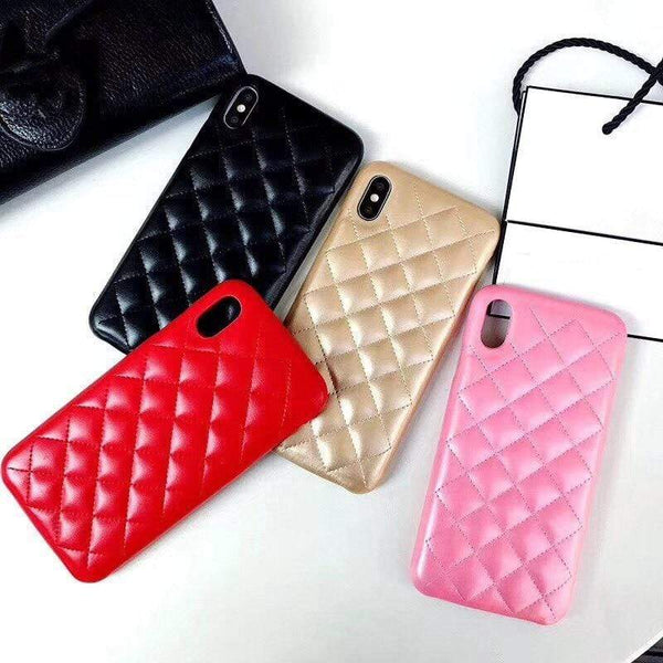 Grid Lattice Leather Cover For iPhone - PhonesFashions