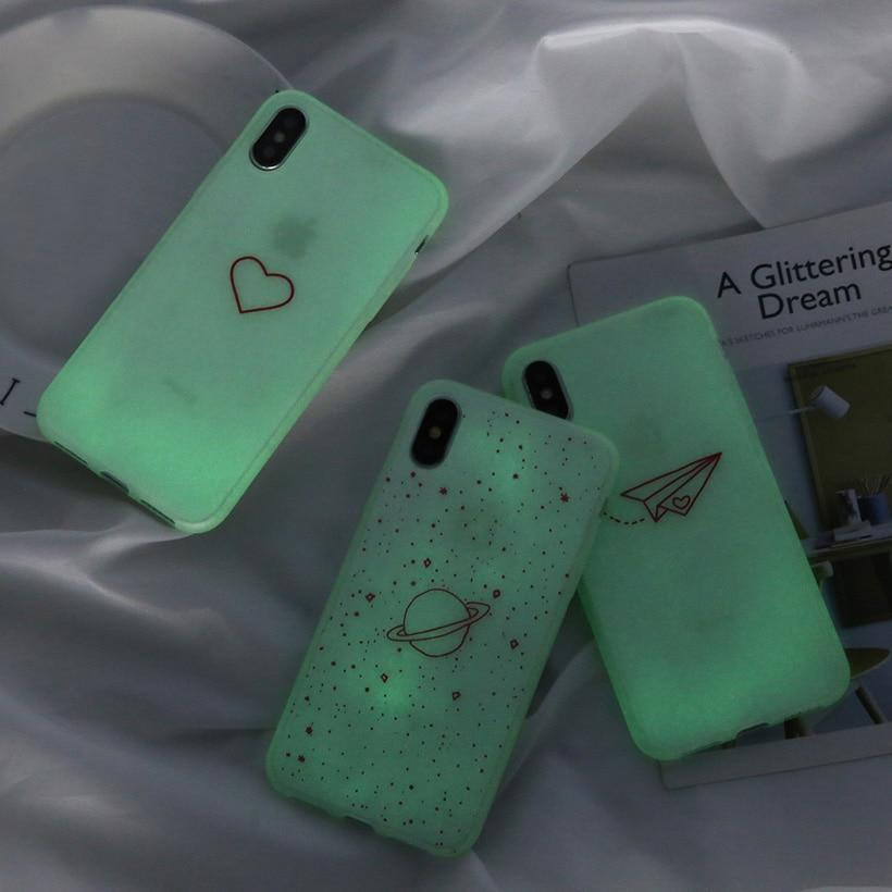 Heart & Stars shape Luminous Silicon Case For iPhone - PhonesFashions