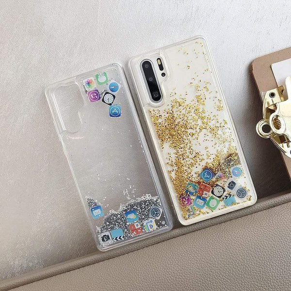 Huawei Floating Glitter Social Icons Case - PhonesFashions