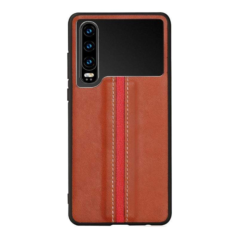 Huawei P30 Genuine Leather Aviation Metal Stitch Case - PHONES FASHIONS