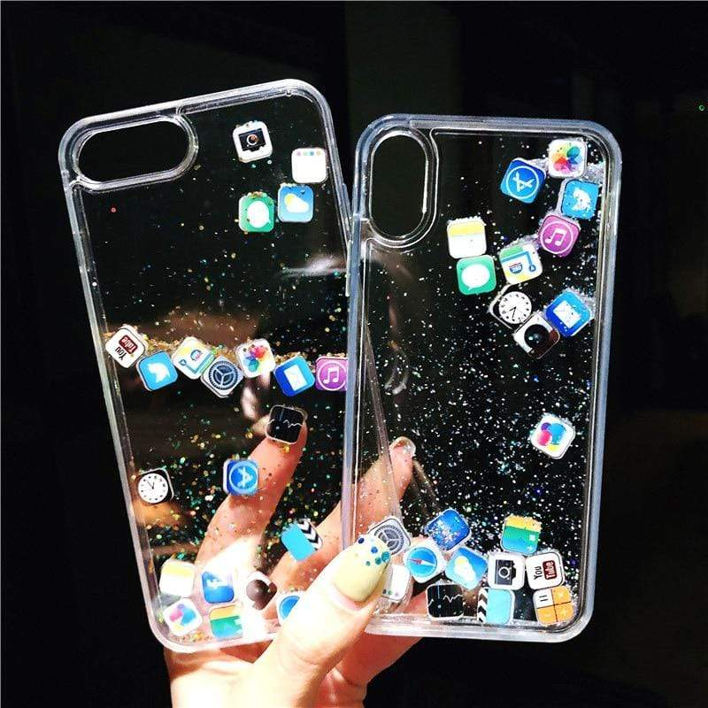 iPhone Soft Glitter Social Icons Clear Case - PHONES FASHIONS