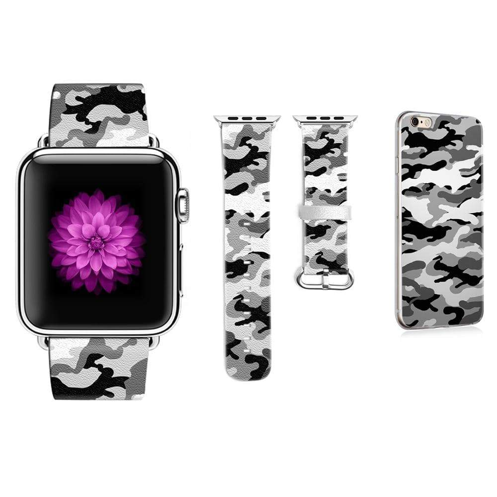Leather Camouflage Pattern Strap for Apple Watch with iPhone Case - PhonesFashions
