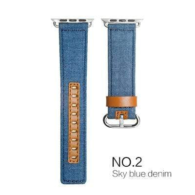 Leather Fabric Denim Apple Watchband - PhonesFashions