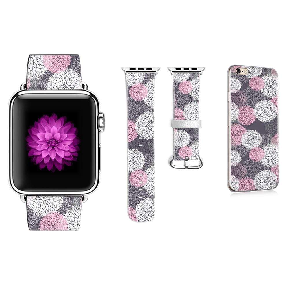 Leather Fireworks Pattern Strap for Apple Watch with iPhone Case - PhonesFashions