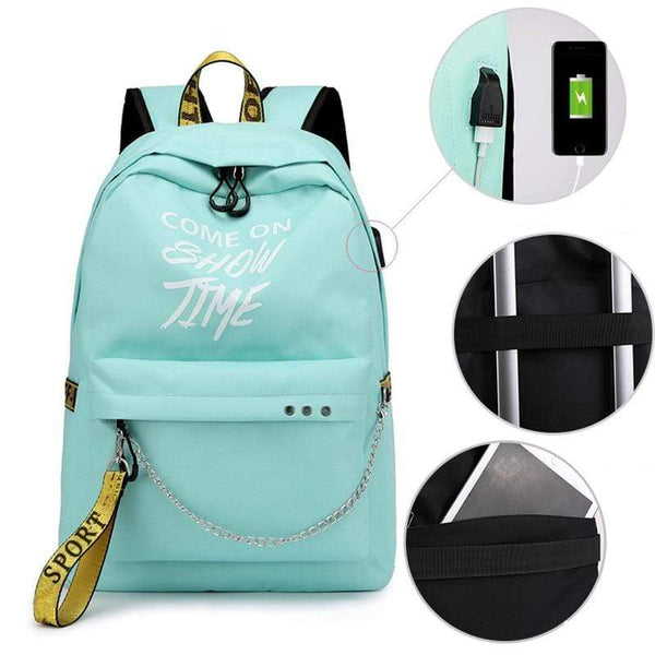 Letters Print Women Backpack with USB - PhonesFashions