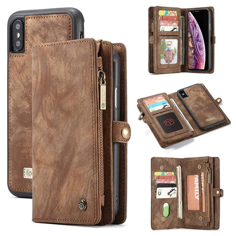 Magnetic Leather Wallet Case For iPhone - PHONES FASHIONS