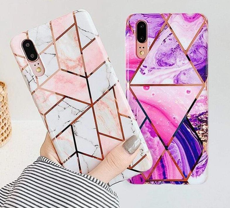 Marble Flower & Leaf Art Case For Samsung Galaxy - PhonesFashions