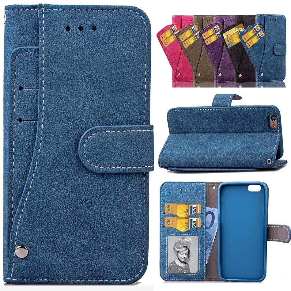 Matte Leather Flip Cover Case for iPhone with Multi-card Slot - PhonesFashions