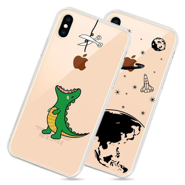 Printed Transparent Soft TPU Phone Case For iPhone - PhonesFashions