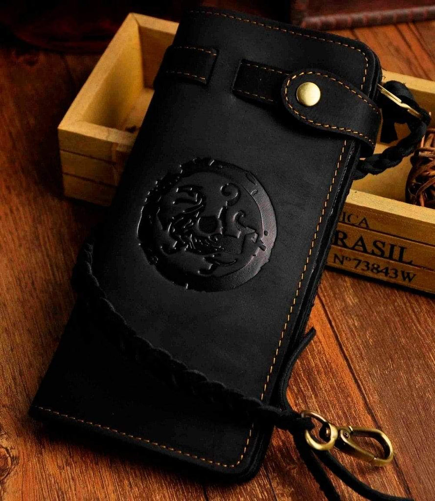 Real leather Design Checkbook Chain Wallet For Men - PhonesFashions
