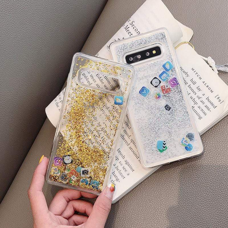 Samsung Floating Glitter Social Icons Case - PhonesFashions