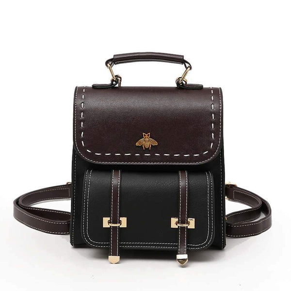Vintage Pu Leather Preppy Style Women Backpack - PhonesFashions