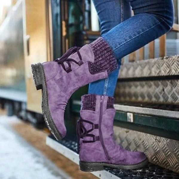 Women Boots winter autumn Knitting Patchwork shoes - PhonesFashions