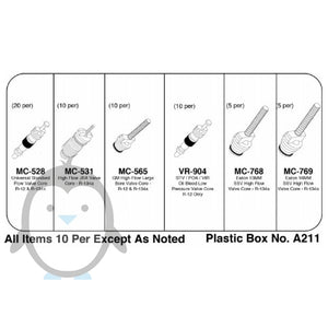 Air con charge port schrader valve kit KT-Core 6 different sizes for R12 and R134a