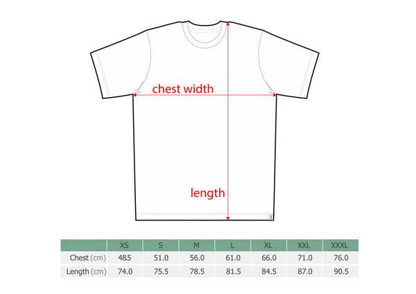 Size chart, adult short sleeve