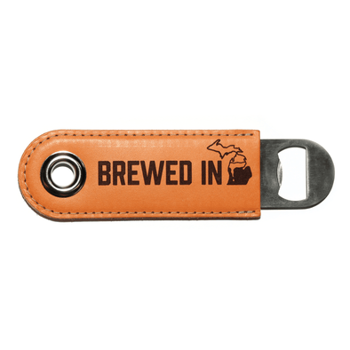 Brewed in Michigan Leather Bottle Opener