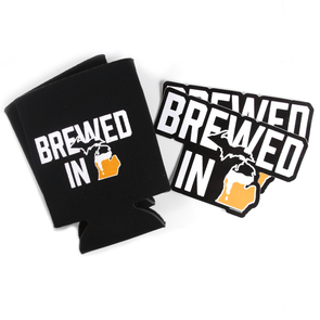 Brewed in Michigan Sticker and Can Hugger Bundle