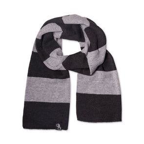 Striped Knit Scarf (Charcoal and Grey)