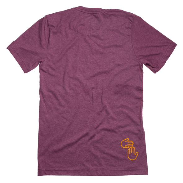 Michigan Hands Tee (Maroon and Gold)
