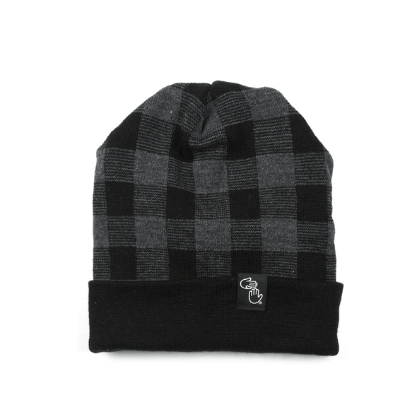 Plaid Knit Beanie (Black)