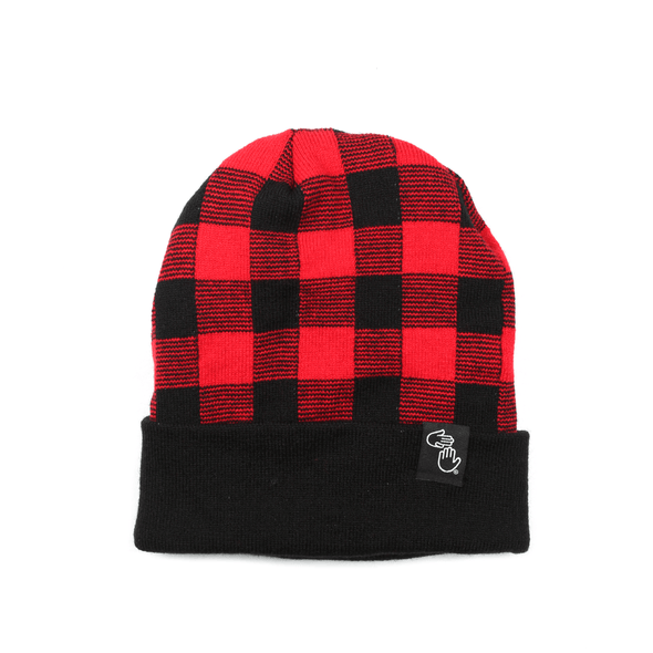 Plaid Knit Beanie (Red)